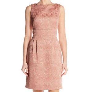 Tahari Sleeveless Jacquard Sheath Pink Dress